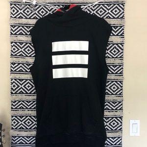 Adidas Three Stripes black oversized hoodie